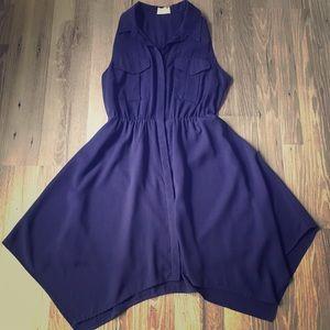 Navy button down collared dress Loose empire waist